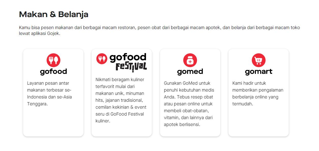Jasa Layanan Gojek Gofood Gomed Gomart