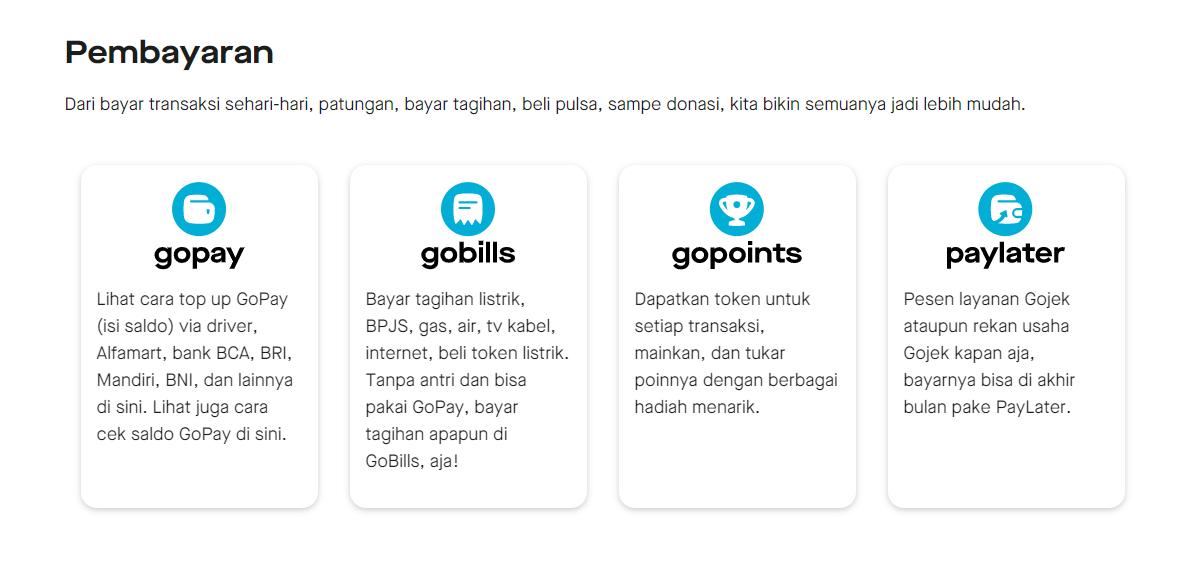 Jasa Layanan Gojek Gopay Gobills Gopoints Paylater