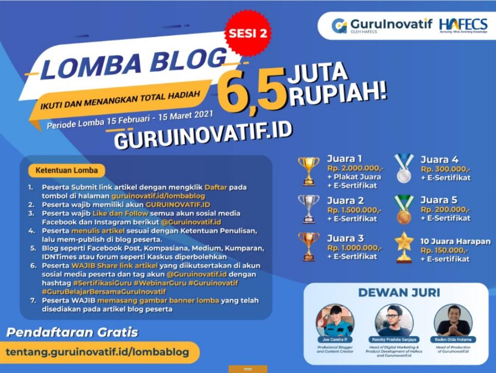 Lomba BLog 2021 Guruinovatif.id